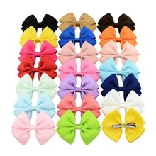 20pcs/lot 3.5 Inch Boutique Baby Ribbon Bows With Clip Hair Accessories For Baby Girls Children Hair Pins Hair Clip 661(China)