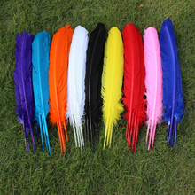 Hot sale! 100pcs/Lot TURKEY QUILLS 25-30cm /10-12inches Dyed Craft TURKEY Wing Feathers for making fascinators&millinery(China)