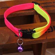1PCS Rainbow Color Pet Collar with Bell 1cm Width Adjustable 24-34cm Length for Small Dogs