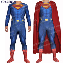 YOY-ZENTAI High Quality 3D Logo Superman Costume Man of Steel Superman Suit New Superman Spandex Costume With Cape