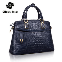 Authentic Women Crocodile Bag 100% Genuine Leather Women Croco Handbag Hot Selling Tote Women Shell Bag Luxury Brand Bags Blue(China)