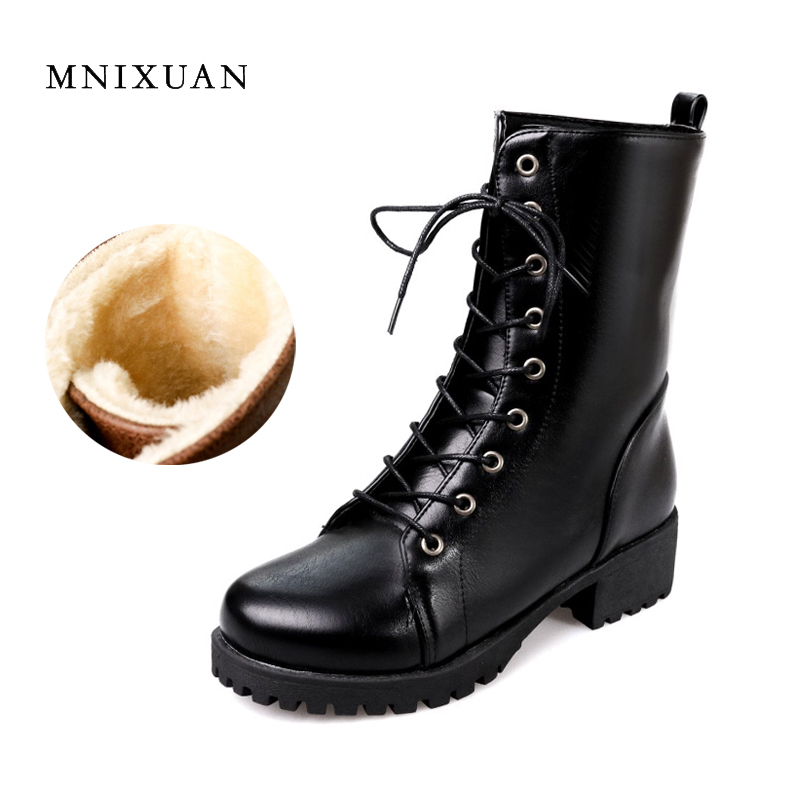 Martin boots thick heel round toe boots 2017 autumn winter women shoes lace up medium heels plush ankle snow boots big size34-43<br>