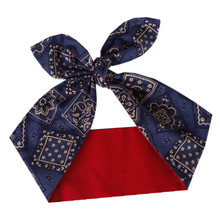 Lulu sky Restoring ancient ways the United States imported pin line blue hair paisley bowknot belt pack headscarves