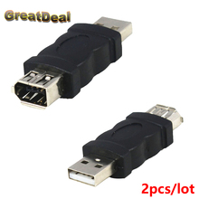 2pcs/lot 6 Pin Female Firewire IEEE 1394 to USB Male Adapter Convertor HY1553