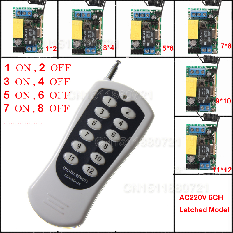 AC 220V 6CH Mini Remote Control Switch Latched A ON B OFF Input output LED Lights Wall Lamps Bulb Remote ON OFF Control 315/433M<br>