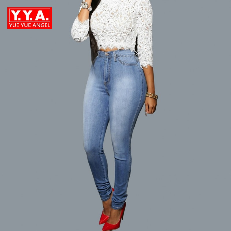 Hot Sale Classic Female Pencil Pants Bleached Vintage Jeans Trousers For Women Water Washed Long Pants High Waist Roupas Blue Îäåæäà è àêñåññóàðû<br><br>