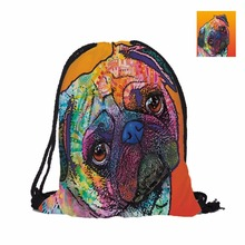 Custom Lovely Pug Fashion 3D Printing Double Sided Men Women School Bag Travel Drawstring Backpack Polyester Texture