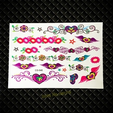 DIY Fake Flash Tattoo Sticker For Kids Heart Chains Design GCG-040 Flower Bracelet Henna Heart Children School Tattoo Paste Love