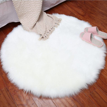 WHISM Imitation Wool Fluffy Rugs Chair Cover Carpet Bedroom Faux Mat Seat Pad Washable Warm Round Table Imitation Wool Fur Rug(China)