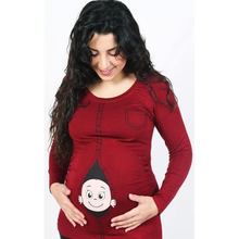 New Plus Size Design Tops Women T Shirt Funny Baby Peeking Out Printed Maternity Pregnancy Shirts(China)