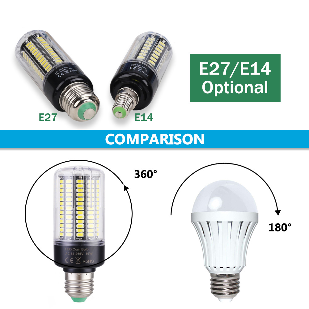 LUCKY LED Corn Bulb Light E27 E14 3W 5W 7W 9W 12W 15W No Flicker 360 degrees for Pendant Light Source AC110V 220V 5730 SMD lamp 8