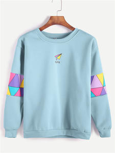 ROMWE Sweatshirt Women Clothing Pullover Letter Patchwork Blue Pale Spring Round-Neck
