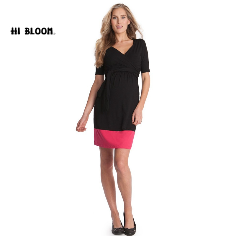 HI BlOOM New Fashion Summer Maternity Dress Pregnant Knee-Length Clothes for Pregnancy Women Elegant Evening Party Vestidos  <br>