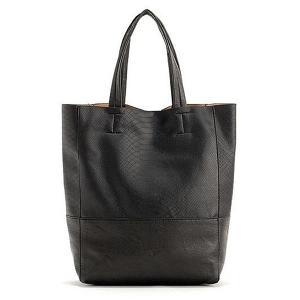 5) TEXU Vintage Crocodile Pattern Faux Leather Simple Women Tote Shoulder Bag Black<br>