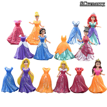 14pcs/set Princess Snow White Cinderella Mermaid Anime PVC Figure Set With Magic Clip Dress Baby Toy Toys For Girls 9cm CSDB17