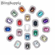 28mm rectangle double row rhinestone button flatback can choose colors 10PCS/lot(BTN-5546)(China)