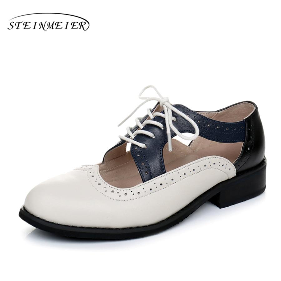 Genuine leather big woman US size 11 designer vintage flats shoes Sandals handmade beige blue black 2017 oxford shoes for women<br>