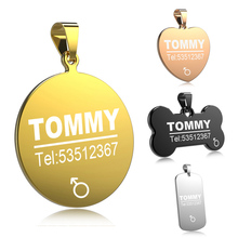 FLOWGOGO Anti-lost Stainless Steel Pet Cat Dog ID Tag Engraved Cat Puppy Dog Collars Accessories Cat Necklace ID Name Tags(China)