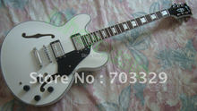 beautiful WHITE guitar ES335 electric JAZZ free shipping es175 semi hollow body high quality chorme hardware F hole humbucker PU(China)