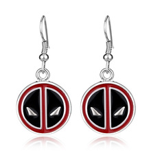 Wholesale Marvel Comic Super Hero Deadpool Earrings Charm Deadpool Logo Red Black Enamel Drop Earrings For Fashion Jewelry 2017(China)