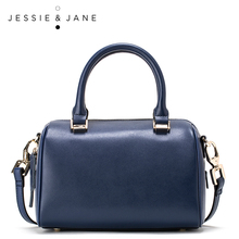 JESSIE&JANE Boston Series Retro Leather Roundtop Women Messenger Bags Shoulder Bags Top-Handle Bags 1293(China)
