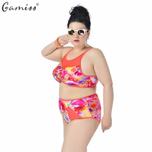 ZAFUL High Quality Print Hollow Out Bikinis set Summer Sexy Underwire High Waist Orange Swimwear Plus Size Women Push Up Bikini