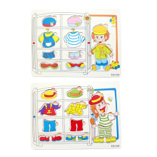 1 Set Baby Kids Magic Montessori 3D Wooden Educational Dressing Up Clothing Jigsaw Puzzles Dress Changing Toys for Children(China)
