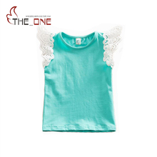 2016 0-5T Baby Girls Flying Sleeve Cotton Lace Shirt Kids Girl Striped Soft Vest Infant Tank Tops Tees Summer Clothes T428(China)