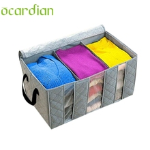Ocardian 65L Foldable Bamboo Charcoal Fibre Home Closet Storage Bag Organizer Box Anti-bacterial Clothes Finishing Bag*15