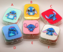LIUSVENTINA DIY acrylic  cute blue pet stitch pattern contact lens case for eyes contact lenses box for glasses