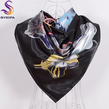 [BYSIFA]Women Men Black Silk Scarf Shawl New Design Spring Autumn Accessories Ladies Genius Flowers Satin Scarves Wraps 90x90cm