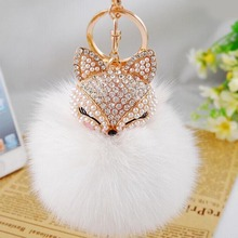 2017 New Fashion Cute Real Fox Fur Ball Plush Keychain Car Key Chain for Bag Pendant -EH-423(China)