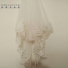 Short Cheap 1.5 Meters Long Lace Appliques Elegant Tulle Two-Layer Wedding Bridal Veil Long Wedding Veil With Comb