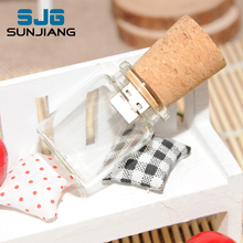 Glass Bottle with Cork USB Flash Drive pendrive Transparent pen drive 64GB 8GB 16GB 32GB 4GB U disk special gift Free Shipping