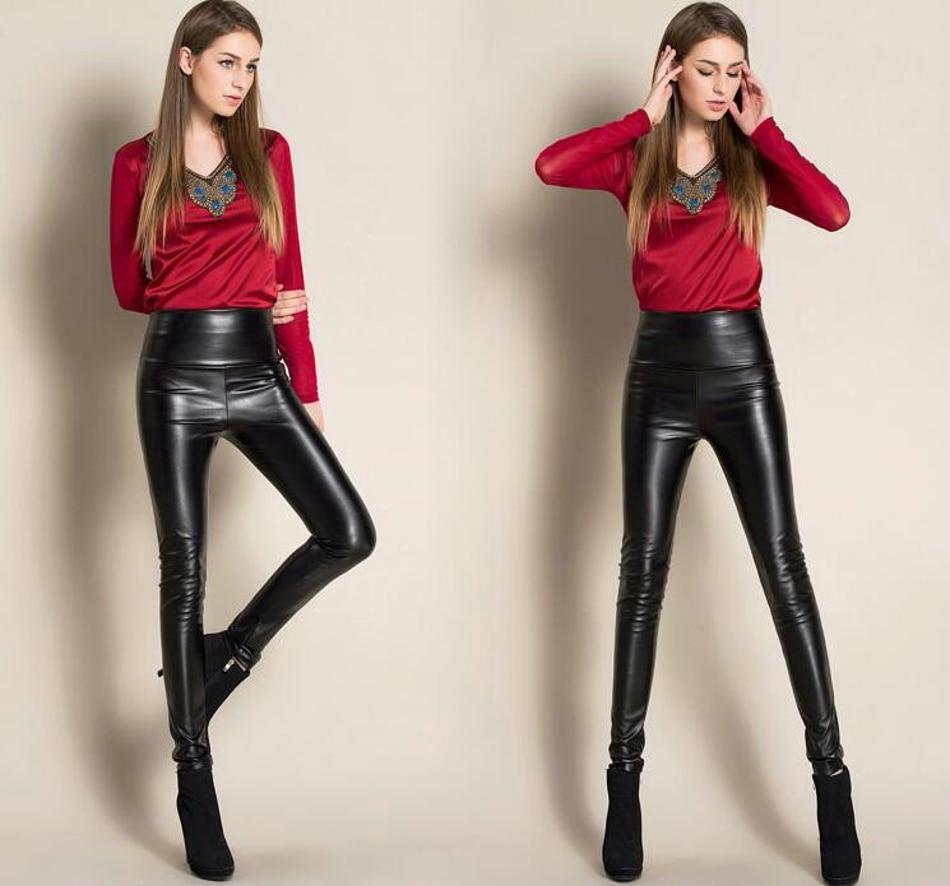 Leggings winter Women High Waist PU Leather Legging Slim Faux Pants Female Fashion Warm Leggings Women 070205
