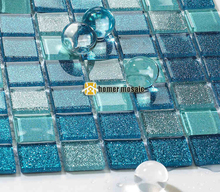 blue crystal glass mosaic tiles HMGM2050 for kitchen backsplash bathroom mosaic tiles wall cover swimming pool free shipping(China)