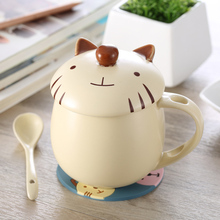 lovely fashion Ceramic Cup handmade Animal Cover Coffee Tea Milk Cup with Spoon Cute Cartoon Girls Mugs Drinkware Gift(China)