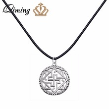 QIMING Valkyrie Silver Slavic Pendant Women Necklace viking Odin Thor Runes Warrior Charm Black Leather Chain Necklace Collier(Hong Kong)