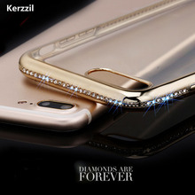 Buy Luxury Gold Rose Bling Rhinestone Diamond Case iPhone 7 6 6S Plus Soft Eletroplating Clear TPU Cover iPhone 6 7 6S Capa for $2.21 in AliExpress store