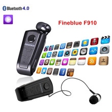 In-Ear Headsets FineBlue F910 Wireless Bluetooth Retractable Earphones Headset With Collar Clip Support Calls Remind Vibration