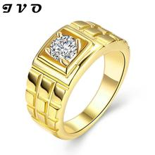 Newest Trendy Male Jewelry Crystal Rings Wedding, Korean Couple Ring For Men 24k Gold Plated Engagement Jewellery