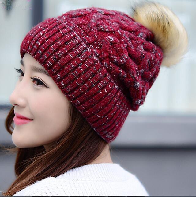 2017 Newest Fashion Spring &amp; Winter Diamond - Shaped Knitted Outdoor Ear Protection Cap/Hat With PompomÎäåæäà è àêñåññóàðû<br><br><br>Aliexpress