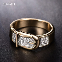 XIAGAO Fashion Jewelry Copper Finger Rings for Women with Stone Cubic Zirconia Belt Gold-Color Unique 2017 New Arrival ZR605(China)