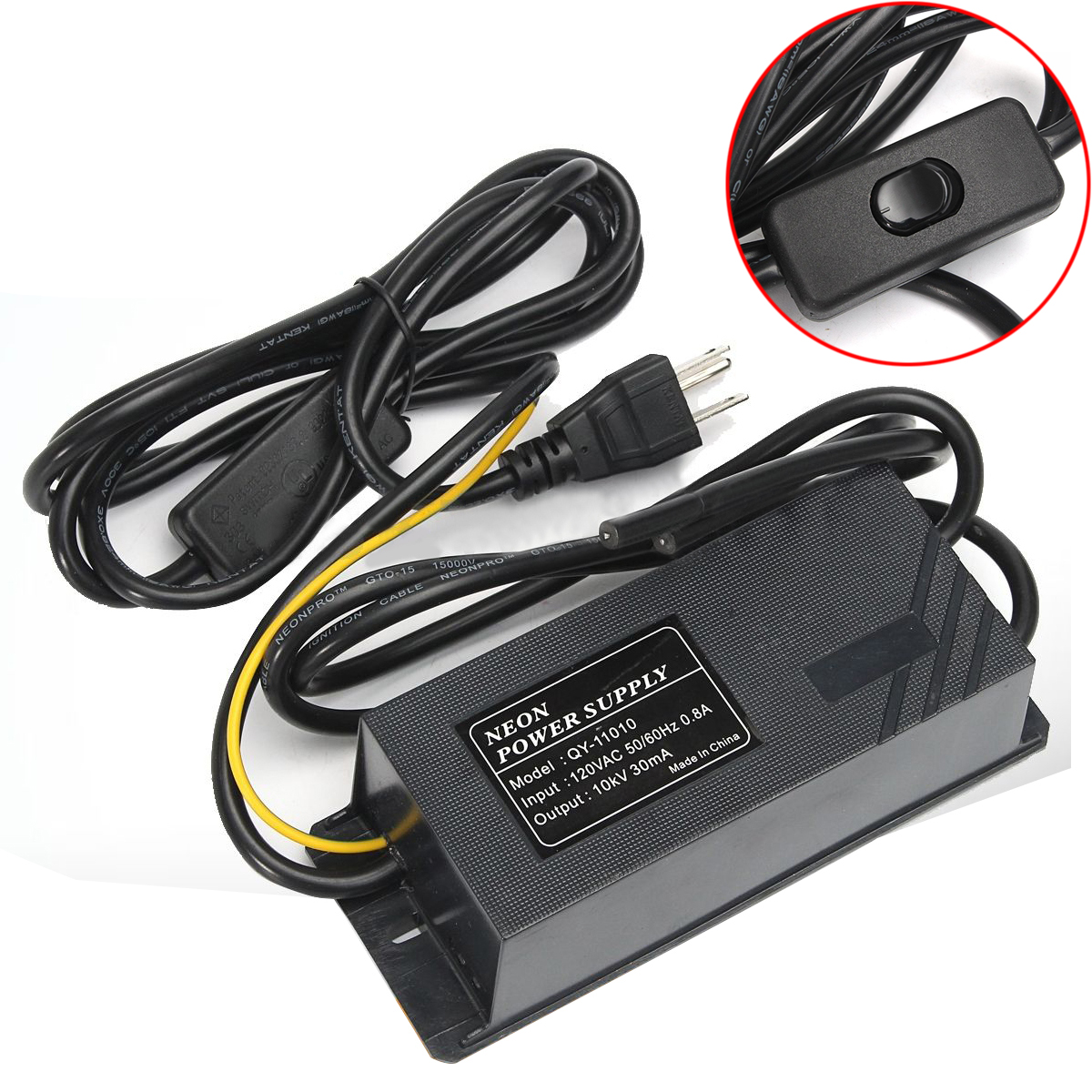 10KV 30mA 120V Black Neon Electronic Transformer Mayitr Practical Waterproof Neon Power Supply Light Rectifier Kit 164*61*48mm<br>