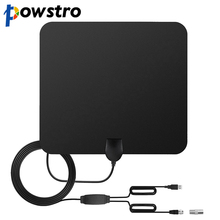 POWSTRO HDTV Antenna Ultra-Thin 6mm 1080P 80 Mile Range Amplified With Detachable Signal Amplifier Booster 10ft Coaxial Cable(China)