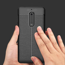 Luxury Brand Original Shockproof Armor Cover for Nokia 5 Case Soft Leather Carbon Fiber Ultra Slim TPU Case for Nokia 5 Cover(China)