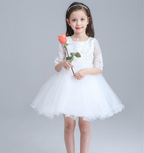 Top White Christening Baby Flower Girls Dress Wedding Half Sleeve Princess Dresses Infant Tutu Dress Girl clothes Clothing(China)