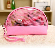 2016 Summer New Women Transparent Cosmetic Bags Waterproof Organizer Travel Clutch Makeup Pouch PVC Mesh Clear Toiletry Wash Bag