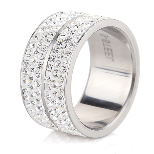 Wholesale High Quality Classic Stainless Steel 6 Row Crystal Jewelry Wedding Ring(China)