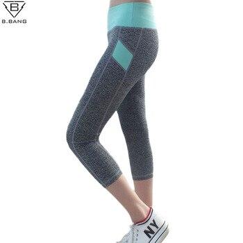 B. BANG Femmes Sport de Course Pantalon Collants Marque Nouveau Capris Remise En Forme Femme Élastique Gym Exécution Pantalon Pantalons femme M/L